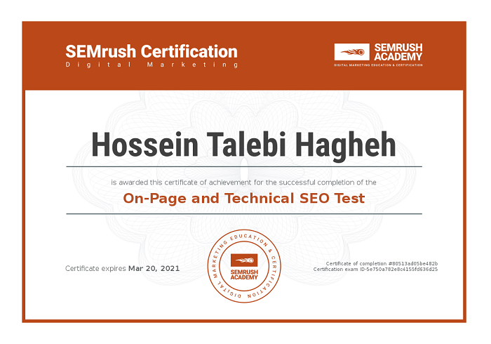 SEMrush Certificate on page and technical SEO