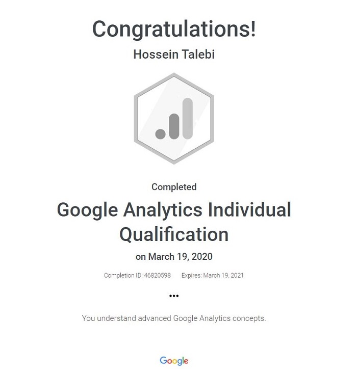 Google Analytics Individual Qualification Certificate